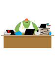 internet trol big green monster and laptop vector image