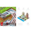 isometric city metro concept vector image vector image
