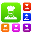 male chef cook set collection vector image vector image