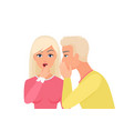 man whispering gossip or secret rumors to woman vector image