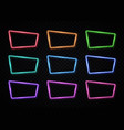 neon frame sign collection 80s style square shape vector image vector image