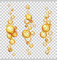 oil bubbles gold cosmetic liquids with keratin vector image vector image