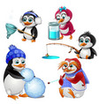 penguin family parents children and grandmother vector image vector image