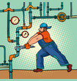 plumber repairs pipes vector image