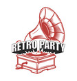 retro party emblem template with gramophone vector image