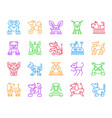 robot dog simple color line icons set vector image vector image