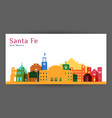 santa fe city architecture silhouette colorful vector image vector image
