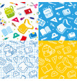 school seamless pattern with education supplies vector image