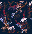 seamless pattern with wild flowers and leaves vector image