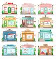 set detailed flat design city facade buildings vector image
