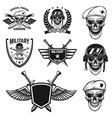 set military emblems with paratrooper skull vector image