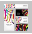 Set of business cards colorful zebra print design vector image vector image