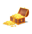 shiny gold ancient coins in old open wooden chest vector image vector image