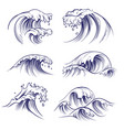 sketch wave ocean sea waves splash hand drawn vector image vector image