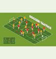 soccer tactics isometric background vector image