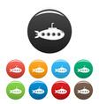 submarine icons set color vector image vector image