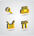 three dimensional computer technology icon set vector image vector image