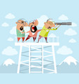 three men on a watchtower vector image vector image