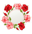 tropical floral frame with pink and red flowers vector image vector image