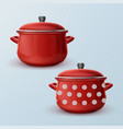 Two red saucepan vector image