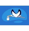 stork delivering a newborn baby vector image