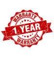 1 year warranty stamp sign seal vector image vector image