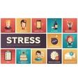Stress at work - line design icons set