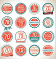anniversary retro badges 70 years vector image vector image