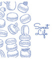 background with hand drawn macaroons and vector image