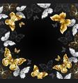 black background with golden butterflies vector image