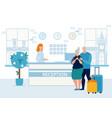 bright banner reception service cartoon flat vector image