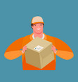 business delivery courier hands a parcel cartoon vector image