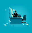 businessman doing yoga on office table vector image vector image