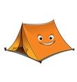 cheerful cartoon orange tent vector image vector image