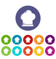 chef hat icons set color vector image vector image