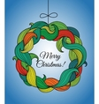 Christmas card with wreath of colorful twirls vector image vector image