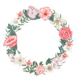 circle frame of roses tulips and different flower vector image vector image