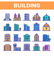 city town buildings linear icons set vector image vector image