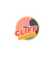 cliff diving on beach logo designs palm and vector image vector image