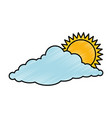 cloud sky silhouette with sun vector image vector image