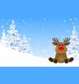 cute deer in winter forest vector image vector image