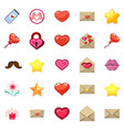 Cute icons of heart and love message in a game
