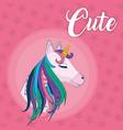 cute unicorn fantasy cartoon vector image
