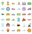 different transport icons set cartoon style vector image vector image