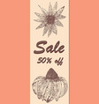 discount voucher sale floral ornament ink vector image vector image