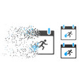 dispersed pixelated halftone fire evacuation man vector image vector image
