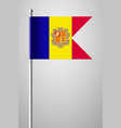flag of andorra national flag on flagpole vector image
