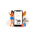 flat design online shopping landing page t vector image vector image