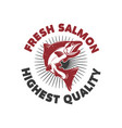 fresh salmon seafood label template design vector image