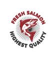 fresh salmon seafood label template design vector image